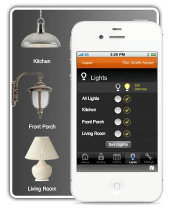 Example of remote house lights control panel app.