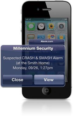 Suspected alarm tampering text message example
