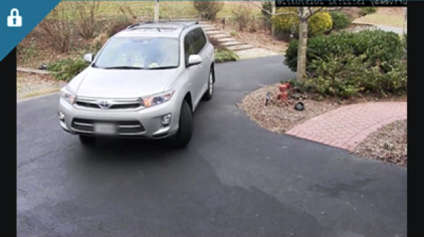 Recorded car in driveway